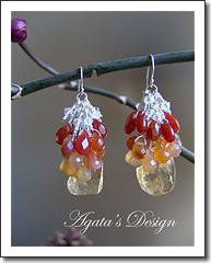 Sterling Silver Red Carnelian Orange Yellow Chalcedony Citrine Stones and Swarovski Crystal Earrings